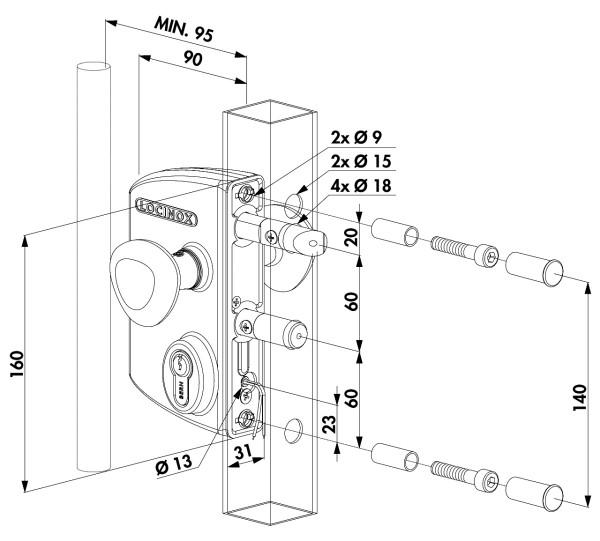 Elektroschloss, Impulsbetrieb, 40-60mm, anthrazit